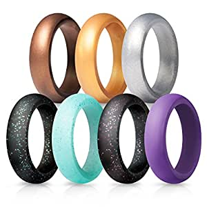 Amazon.com : Silicone Wedding Rings for Women - 7 Pack