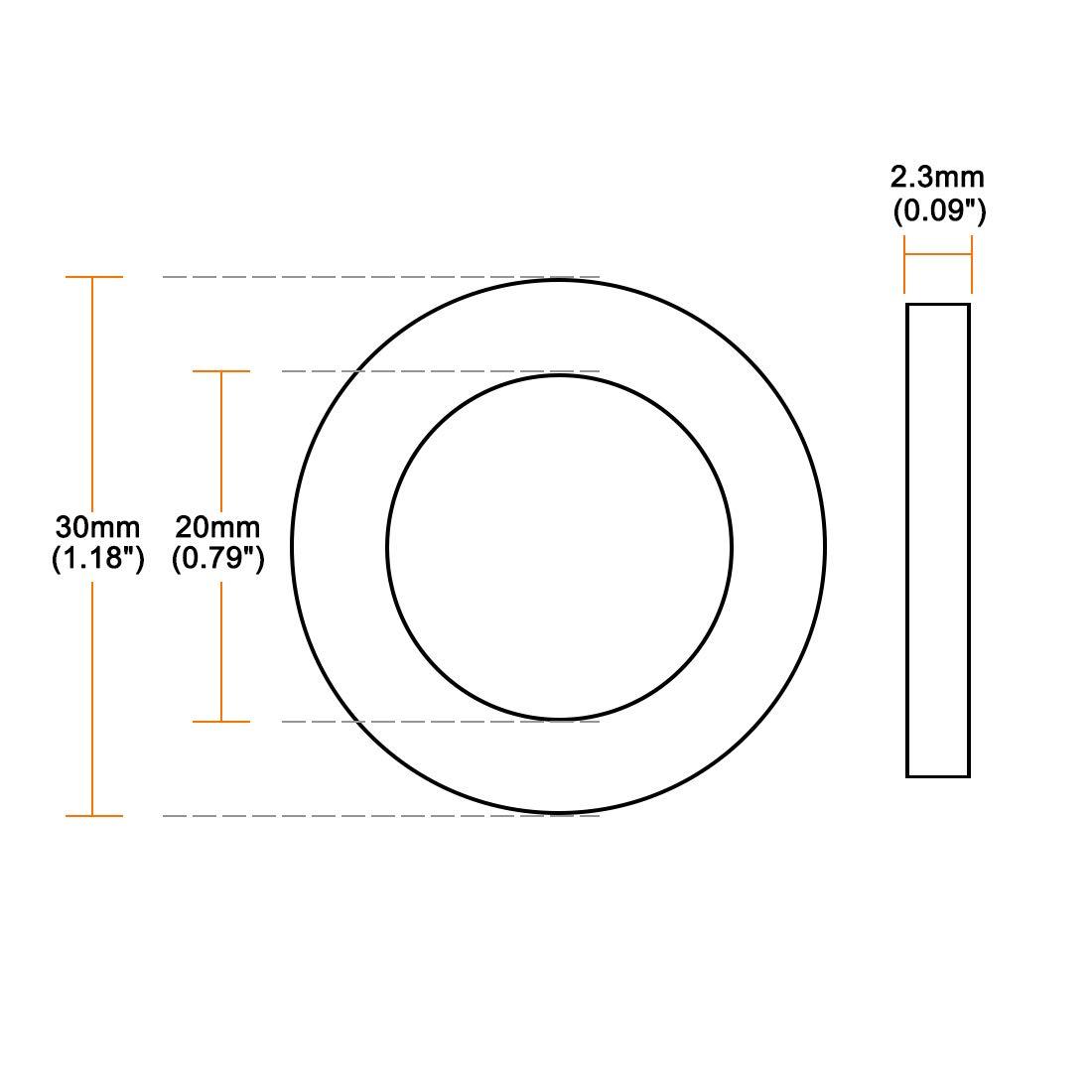 2,3 mm dick Sourcing Map Gummi-Unterlegscheiben 30 mm Au/ßendurchmesser 50 St/ück 20 mm Innendurchmesser