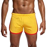 Willsa Mens Running Shorts, Solid Color Elastic Waist LUN Mesh Movement Flat Angle Track Pants Home Shorts Yellow