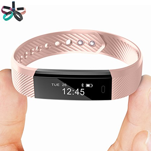 Smart Bracelet Point Touch TopBest ID115 Bluetooth Call Remind Remote Self-Timer Smart Band Calorie Counter Wireless Pedometer Sport Sleep Monitor Activity Tracker For Android iOS Phone (Pink)