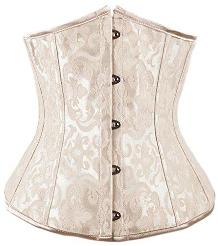 Alivila.Y Fashion Flower Tapestry Underbust Corset 2001-CreamWBlackZip-XXL (Flower Brocade Corset)