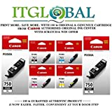 CANON PGI 750 XL Twin Black & CLI 751 XL BK/C/Y/M [Set of 6 Cartridge] -Special ITGLOBAL Combo With Scratch & Win Reward Offer - From ITGLOBAL