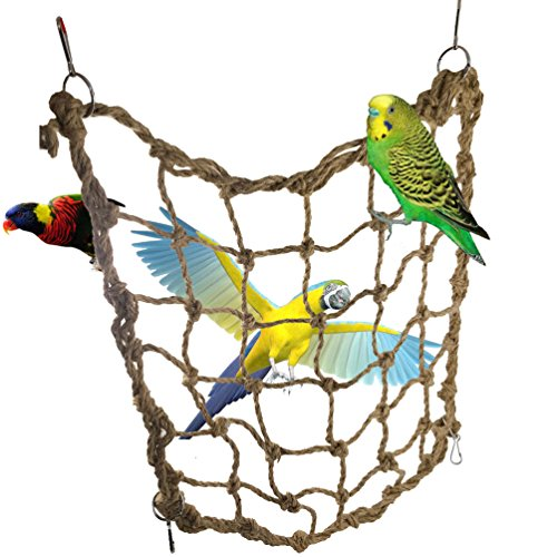 Parrot Bird Swing Thick Chew Rope Hammock Hanging Cage Toys Small Animal Activity Toy Rat and Ferret Hemp Rope Nets Climbing Lad