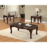 Best Quality Furniture CT487 Faux Marble Coffee and 2 End Table Set (Set of 3), Cherry