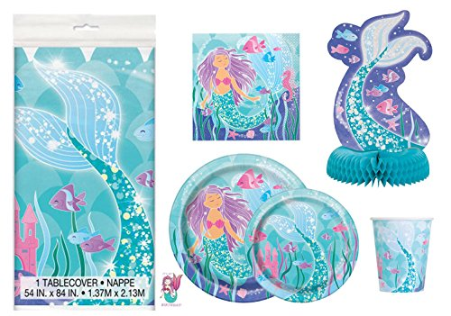 Deluxe Mermaid Birthday Party Supplies Pack - Serves 16 - Tablecloth, Plates, Napkins, Cups and Centerpiece Decoration -
