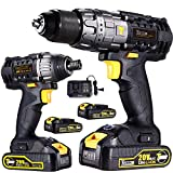 Cordless Impact Driver 1600In-lbs Max & Impact Drill/Driver 530In-lbs Max 20V Combo Kit with 2 pcs 2.0Ah Lithium-Ion Batteries, 30-Minute Quick Charger, 29pcs Accessories - TECCPO TDCK01P