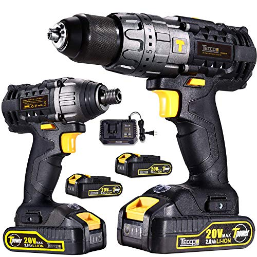 Two Speed Range Hammer Drill - Drill Driver/Impact TECCPO 20v Max Professional Combo Kit with 2 pcs 2.0Ah Lithium-Ion Batteries, 30-Minute Quick Charger, 29pcs Accessories - TECCPO TDCK01P