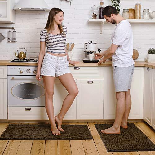 Pretigo Kitchen Rug Sets - Rugs for Kitchen Floor Washable,Non-Slip Soft Kitchen Mat Set,Chenille Microfiber Material, Super Absorbent (Brown) (Kitchen Mat Rug)