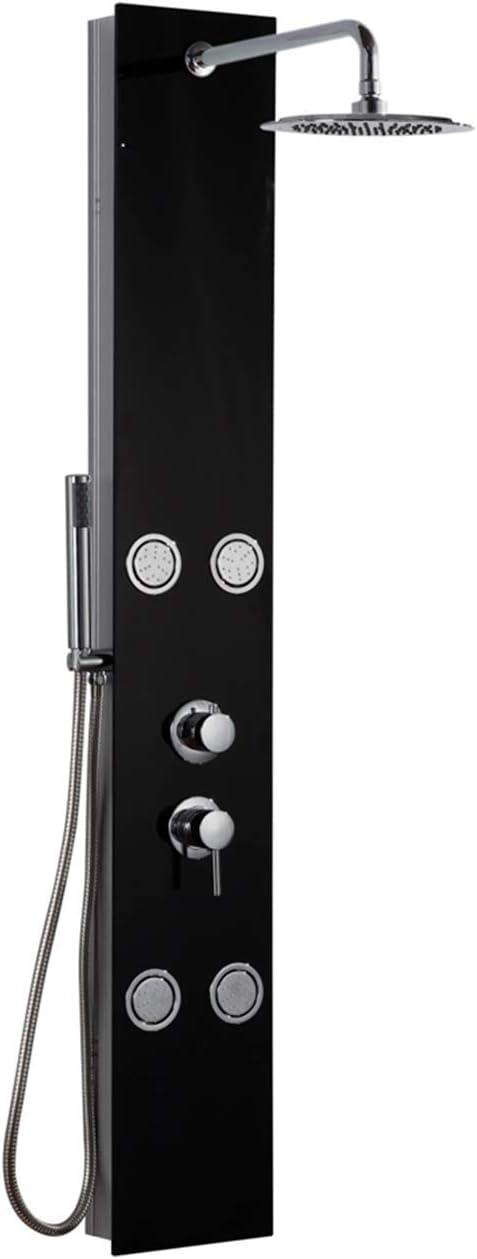 DP Grifería - Columna de ducha hidromasaje en cristal, color negro, modelo Huelva