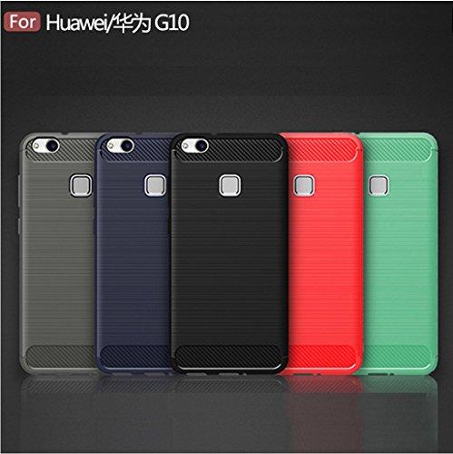 Funda Huawei G10,Funda Fibra de carbono Alta Calidad Anti-Rasguño y Resistente Huellas Dactilares Totalmente Protectora Caso de Cuero Cover Case Adecuado para el Huawei G10 E