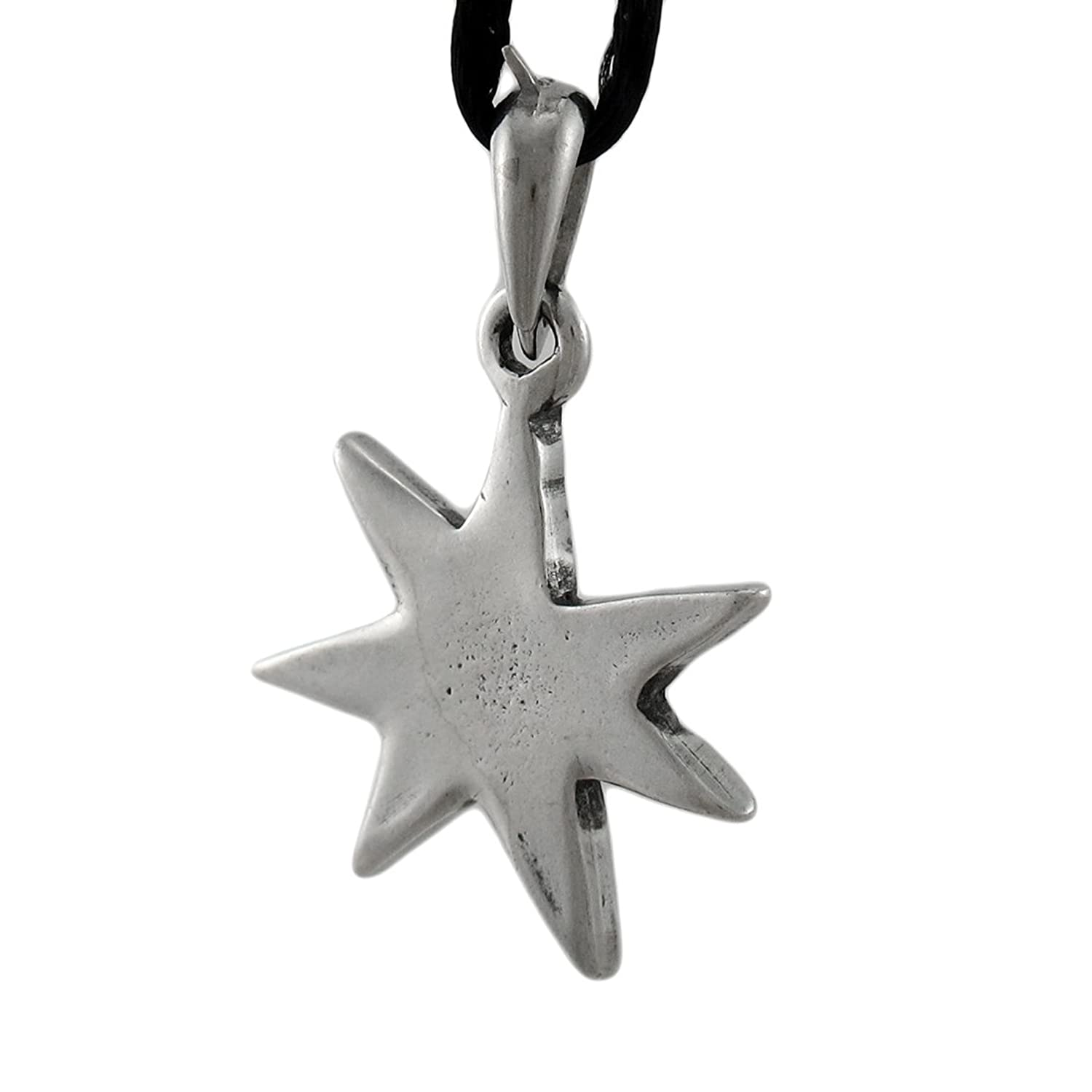 Stainless steel mens pendant necklaces elven star 7 pointed stainless steel mens pendant necklaces elven star 7 pointed heptagram pendant w cord necklace silver model hwp65 amazon aloadofball Choice Image