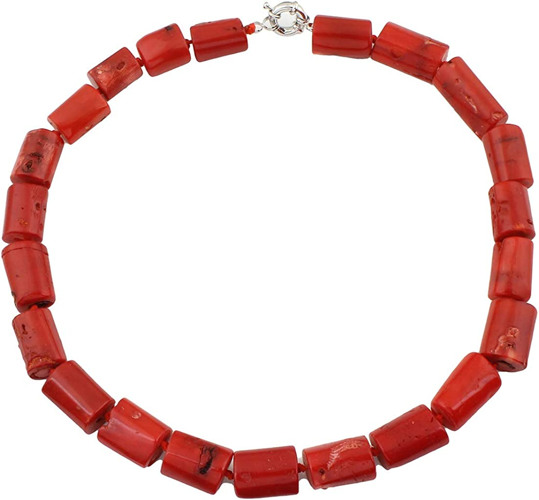 TreasureBay Collar de coral rojo natural con cierre de anillo de resorte