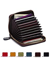 APHISON RFID Blocking Coin Pouch Purse Credit Card Case Holder Genuine Leather Zipper Wallet 8117 (BLACK)