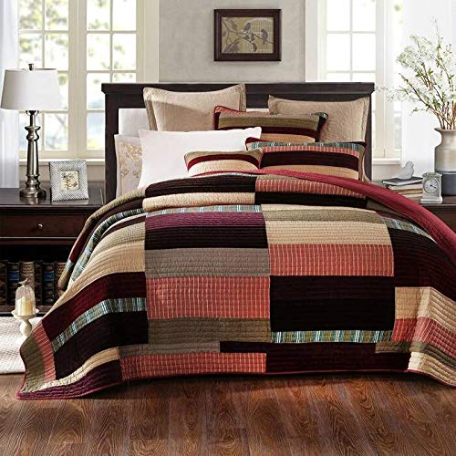 DaDa Bedding Classical Desert Sands Reversible Real Patchwork Quilted Bedspread Set - Striped Autumn Warm Tones Brown Burgundy Multi-Color Print - King - 3-Pieces (And Brown Sets Red Bedding)