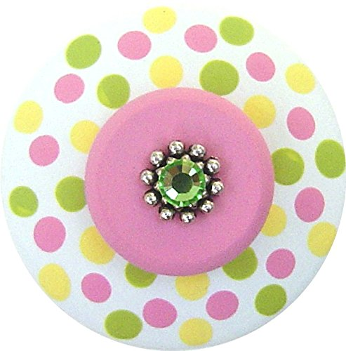 (Hand Painted Jeweled Yellow Green and Pink Polka Dots Decorative Dresser Knobs Furnitue Knobs Kids Childrens Nursery Room Art Decor Wood Drawer Knobs Pulls)