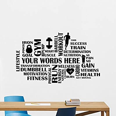 Custom Fitness Words Cloud Gym Wall Decal Personalized Motivational Fitness Vinyl Sticker Inspirational Wall Decor Fitness Motivation Quote Sport Wall Art Training Workout Wall Mural 84fit