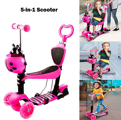 Hosmat 5-in-1 Scooter for Toddlers Kids with Seat – Adjustable Detachable Portable 3 Wheel Kick Scooter with LED Light up Wheels Gift for Baby Boys Girls 1 to 6 Yeard Old US Stock