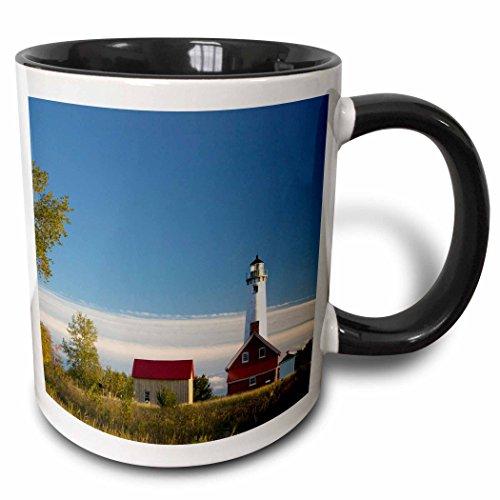 - 3dRose 91239_4 Michigan, Tawas Point Lighthouse on Lake Huron-US23 WBI0139-Walter Bibikow Two Tone Mug 11 oz Black/White