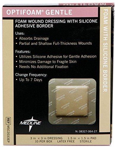 Medline MSC2033EPZ Optifoam Gentle Border Adhesive Dressings, 3