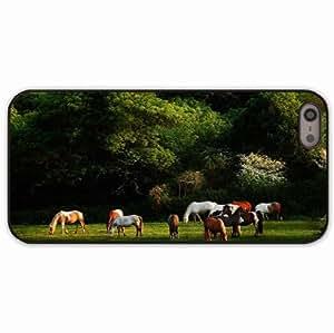 iPhone 5 5S Black Hardshell Case horses grass trees walk herd Desin Images Protector Back Cover