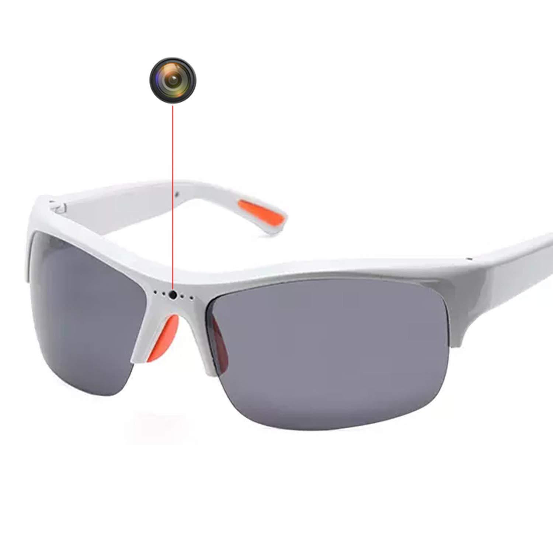 SKYWAY Wireless Video Camera Smart Glasses Polarized UV400 Lenses 1080P Hidden Sport Sunglasses (White) by Skyway