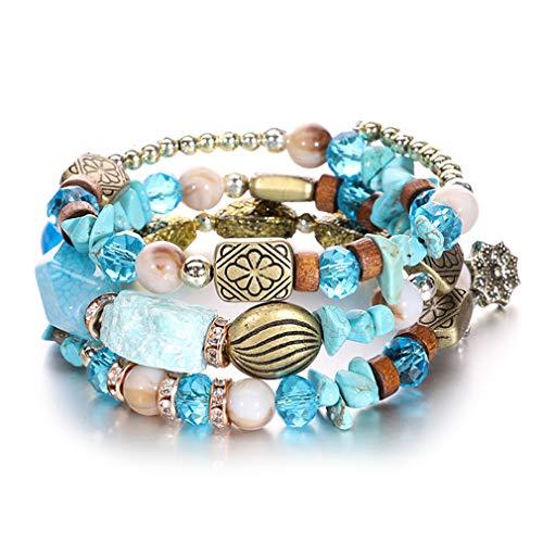 (Bohemian Crystal Beads Charms Bracelets Stone Bracelets Bangles Sky Blue)