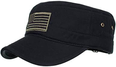 Bravetoshop Washed Cotton Military Style Caps Cadet Army Caps Vintage Flat Top Cap Corps Hat for Men and Women