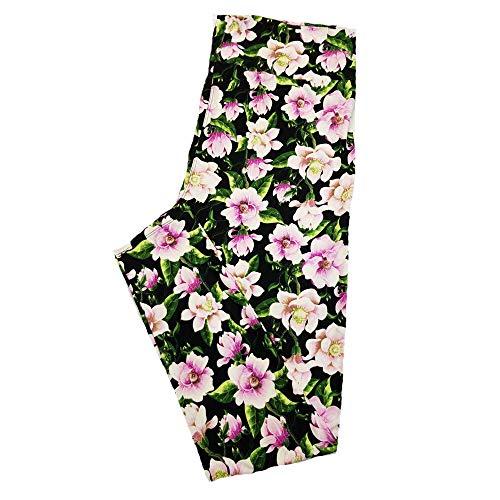 Lularoe TC2 Floral Black White Yellow Green Leggings fits Adult Sizes 18+