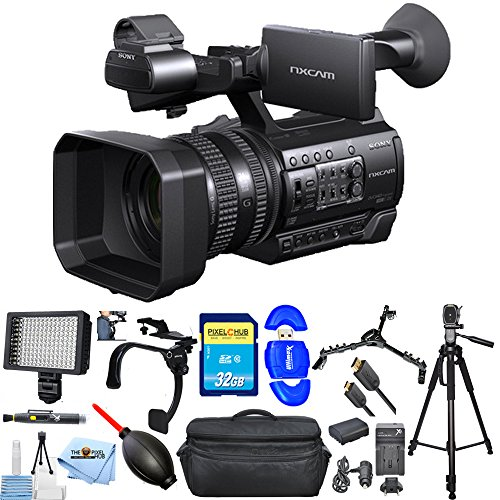 Sony HXR-NX100 Full HD NXCAM Camcorder #HXR-NX100 PRO Bundle with Extra Battery and Charger, 32GB SD, Tripod, Shoulder Stabilizer, LED Light + Much More [International Version] -  Pixel Hub, SNYHXRNX10011