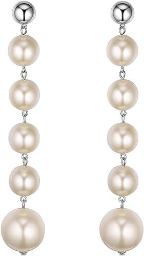 Ballet Dancer Long Imitation Pearl Dangle Chain Long Earrings Women Jewelry 6A
