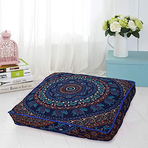 Ganesham Handicraft - Square Floor Pillow Large Ottoman Pouf Cover Hippie Indian Seating Daybed Throw Sofa Cushion Cover Ombre Mandala Outdoor Dog Bed