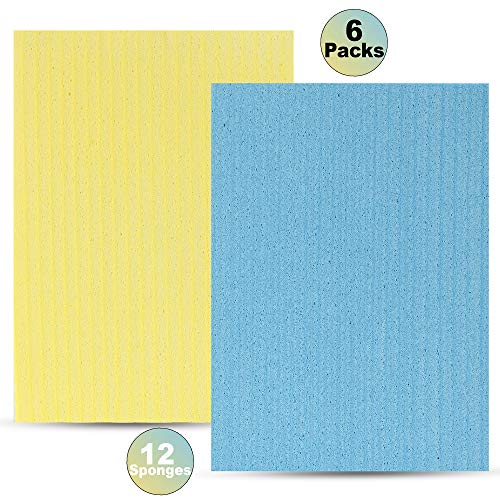 Cellulose Sponge Cloth by Compac Industries - 12 Sponges, Cleaning Reusable Kitchen Sponge Cloths - Save Money by Replacing Paper Towels - 2 Count - 6 Packs
