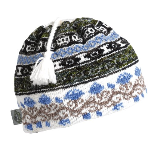 Turtle Fur Tassel (Turtle Fur Women's Lady Fairisle, Classic Wool Ski Tassel Hat, White)