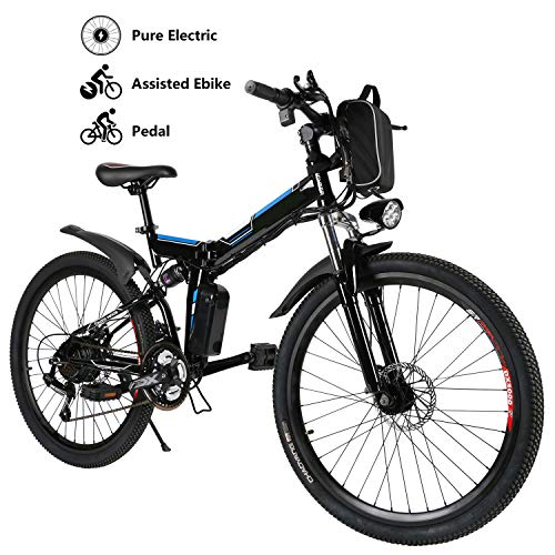 Yiilove Electric Mountain Bike 26'' Wheel Ebike 36V Lithium-Ion Battery, Electric Bicycle 250W Powerful Motor, Shimano 21 Speed (Type3-26-Foldable-Black)