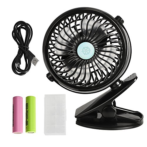 VIPITH Battery Operated Clip on Stroller Fan, 360 Degree Rotation Mini Portable Desk Fan with Two Rechargeable Batteries for Baby Stroller, Crib, Car Seat, Treadmill, Office and Outdoor Activities (Red Stroller Mill)