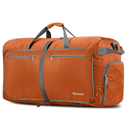 Gonex 100L Foldable Travel Duffel Bag for Luggage Gym Sports, Lightweight Travel Bag with Big Capacity, Water Repellent Orange