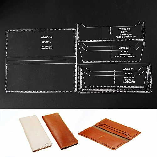 Amazon WUTA Acrylic Pattern For 8 Card Slots Long Wallet Templates Set WT865