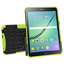 Galaxy Tab S2 9.7 Case, MCUK Heavy Duty Rugged Dual Layer - Soft/Hard Shell 2 in 1 Tough Protective Cover Case with Kickstand for Samsung Galaxy Tab S2 Tablet (9.7 Inch, SM-T810 T815 T813) (Green)