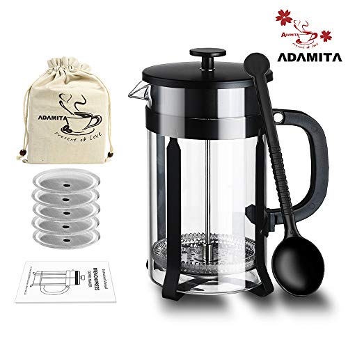 French Press Coffee Maker - 8 cup 34 oz Coffee and Tea French Press 304 Stainless Steel Heat Resistant Borosilicate Glass Bundle Complete Perfect Gift for Coffee and Tea Lovers