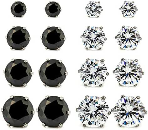 JewelrieShop Hypoallergenic Nickel-free Lead-free Stud Earrings, Stainless-steel Round Cubic Zirconia Men Earrings