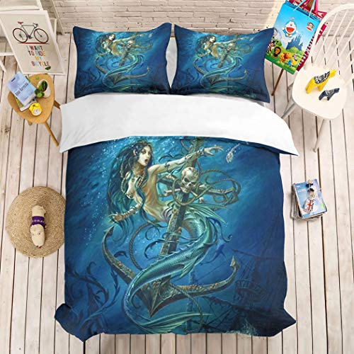 HoYoo Cartoon Colorful Mermaid Underwater World Shell Fish Halloween Skull Cosplay Bedding Set Duvet Cover Twin Bed Set 3-Piece Bedspreads Fairy Tale Story (#5,Queen / 228228cm)