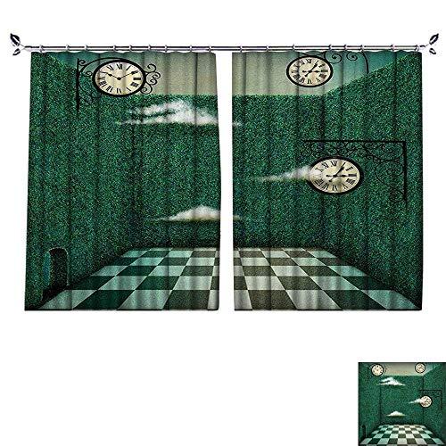 PRUNUS Blackout Window Curtain with hookTale Illustration Walls of Grass and Clocks Wonderland Theme Print Forest Green Sage Balance Indoor Temperature,W55 xL63