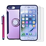 iPhone 8 Plus Shockproof Case,iPhone 7 Plus Bumper Heavy Duty Dual Layer Protection Cover Kit DiGDry with Kickstand Ring Grip Hold Screen Protector+Pen for iPhone8 Plus/iPhone7 Plus (Rose Gold)