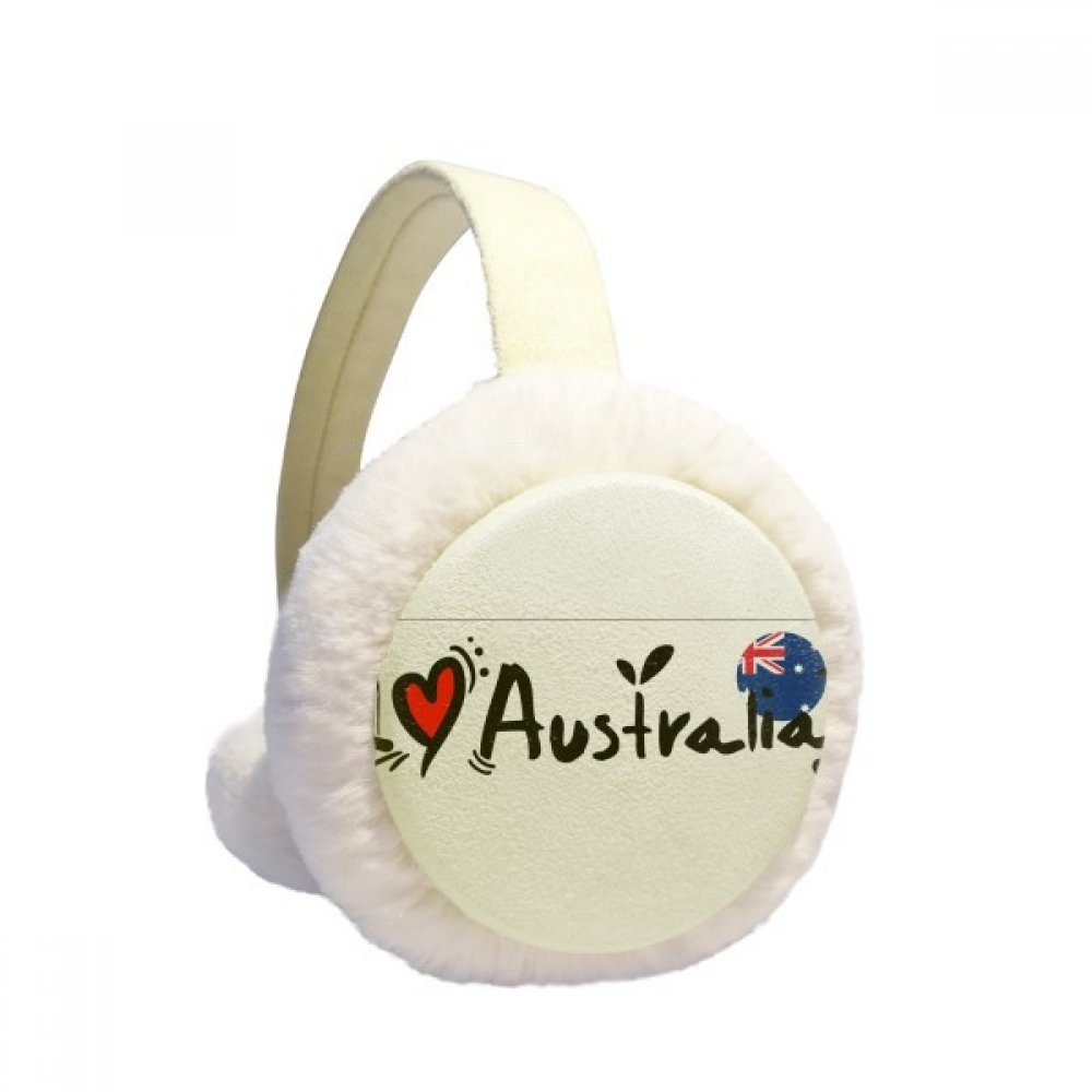 I Love Australia Word Flag Love Heart Illustration Winter Earmuffs Ear Warmers Faux Fur Foldable Plush Outdoor Unisex Gift