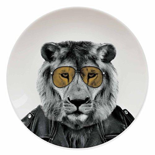 Mustard M12006B Wild Dining Ceramic Dinner Plate, Lion, Multicolored by Mustard