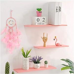 WUDENHOM Short Wall Floating Shelves Pink, Set of 3 Wood Hanging Shelves Dolls Games Cosmetics Gifts Storage Display Organizer Princess Dream Décor Shelves for Kids Room Bedroom Nursery