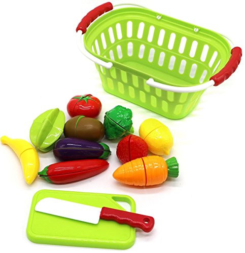 fruits and vegetables toys with Shopping Basket Playset for Kids Pretend Play Cutting Kitchen Cooking and Playing fun (Get Well Baskets Toy Food)