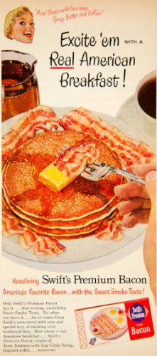 1951 Ad Swifts Premium Bacon Aunt Jemimas Pancakes Log Cabin Maple Syrup Food - Original Print (Sliced Log)