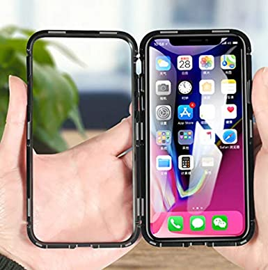 Magnetic Metal Glass Case for Full Cover Tempered Glass Back Magnet Cases - Estuche Magnetico Fundas Forros (White, iPhone Xs (5.8