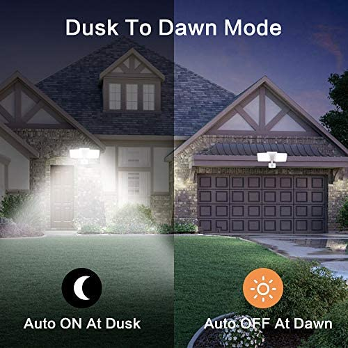 DLLT Motion Sensor Light Outdoor, Security Detector Led Flood Light, 20W Activated Outdoor Lights Fixture with Plug, 2 Heads Spot Light Dusk to Dawn for Garage, Outside, Porch, Yard, Garden, 6000K
